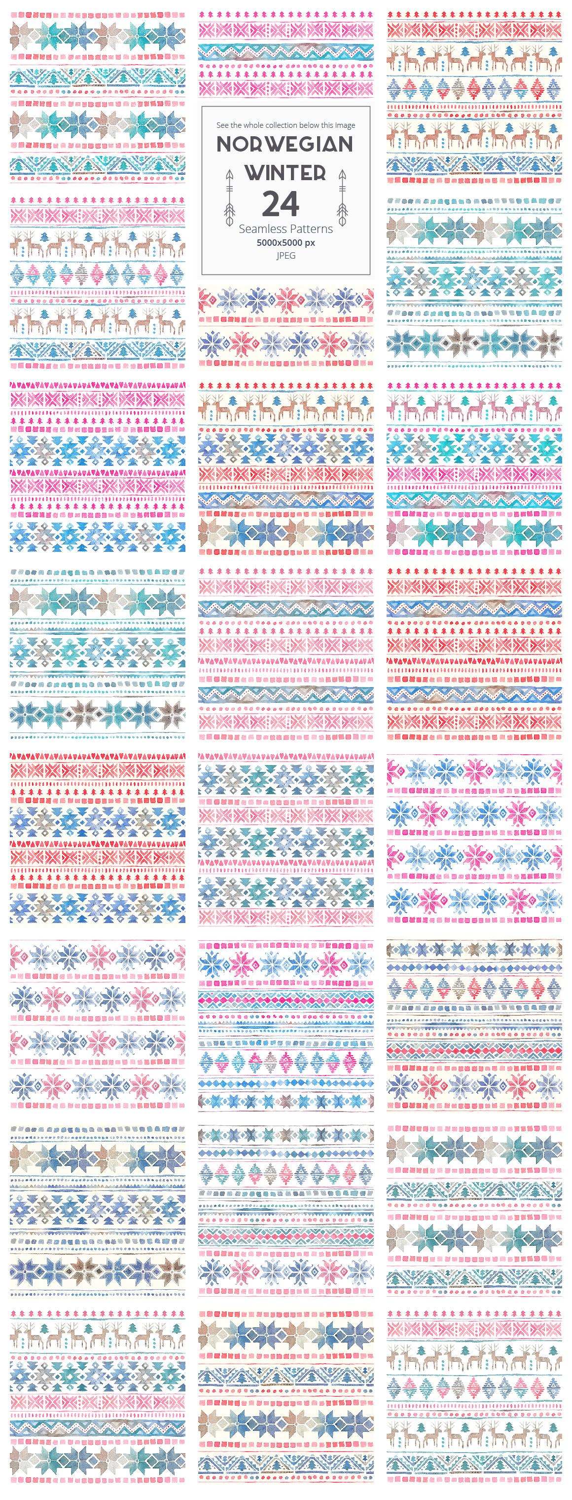Norwegian Winter: Seamless Patterns example image 3