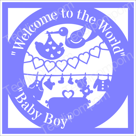 Baby SVG, Welcome to the World Baby Boy Birth Announcement Papercut, SVG  Papercutting, Card Making, example image 1