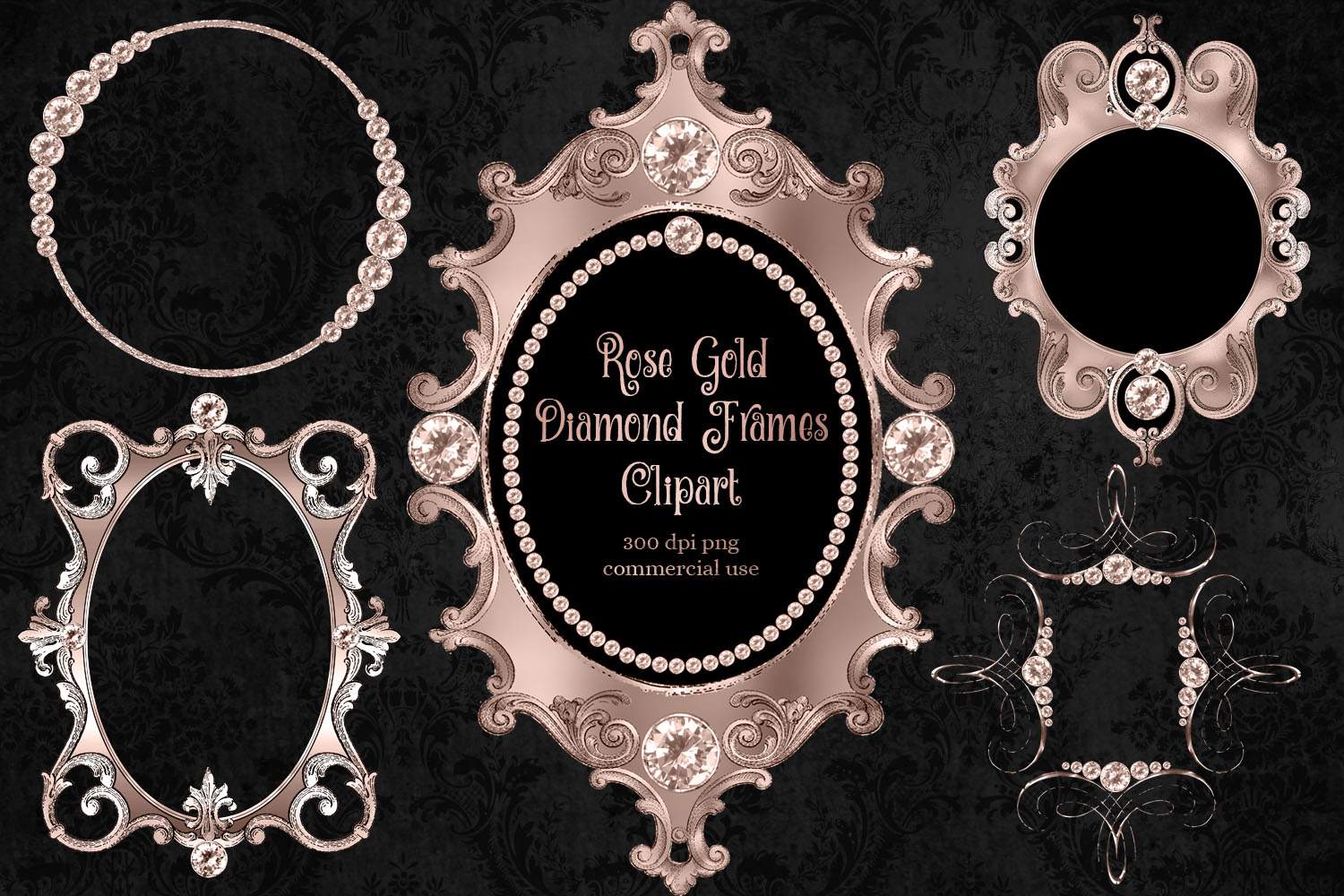 Rose Gold Diamond Frames Clipart example image 1
