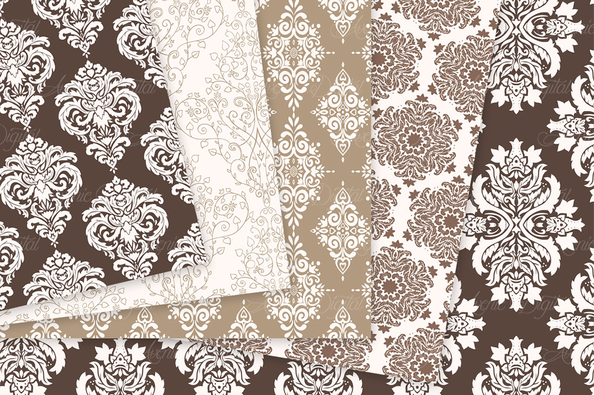 Brown Damask Patterns - Seamless Digital Papers example image 7