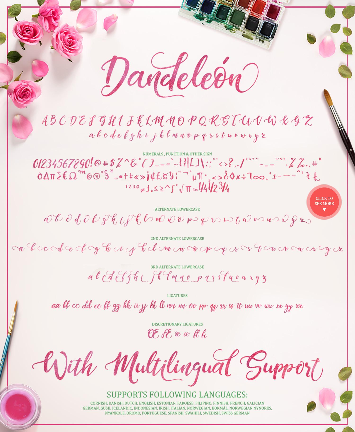 Dandeleón font + SWASHES example image 10