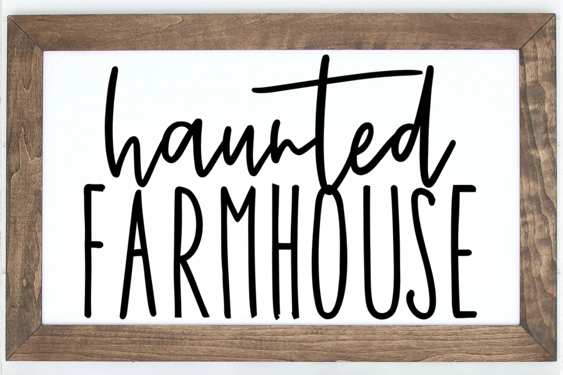 Haunted Farmhouse SVG |Halloween SVG Sign Digital Cut File example image 2