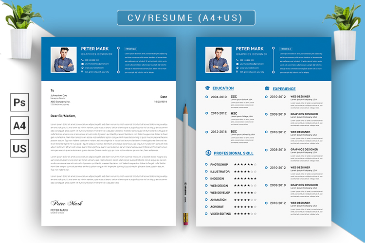 CV Resume PSD Template example image 1