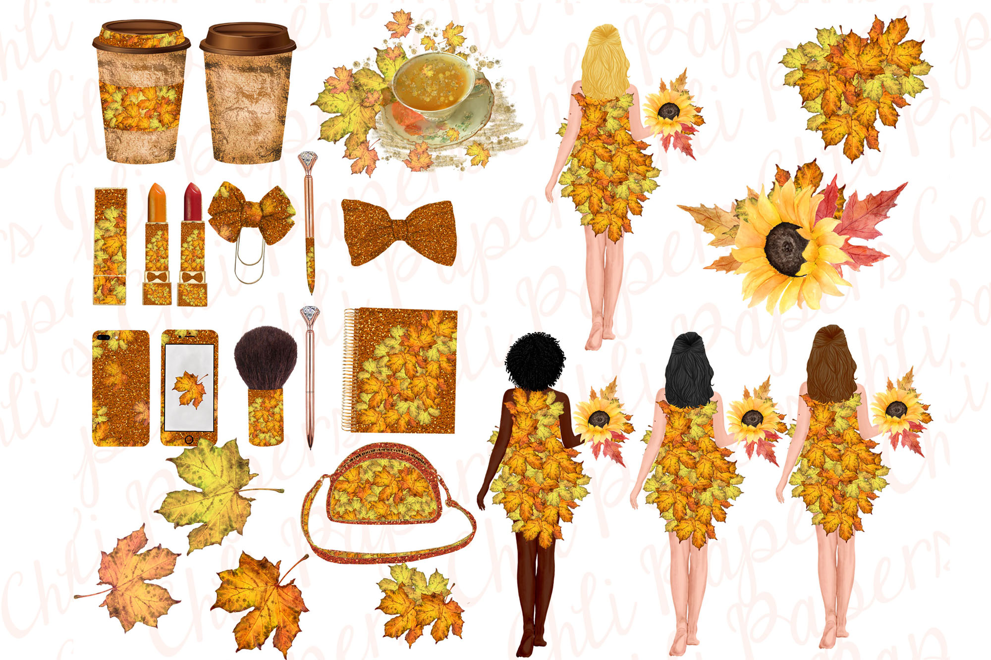 Autumn Girls Clipart, Planner girls,Thanksgiving clipart, example image 2