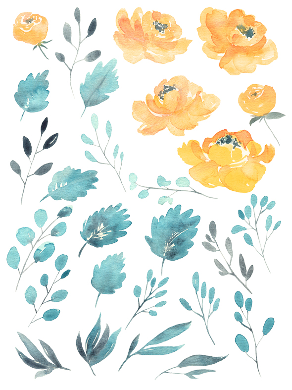 Watercolor blue and yellow flowers example image 2