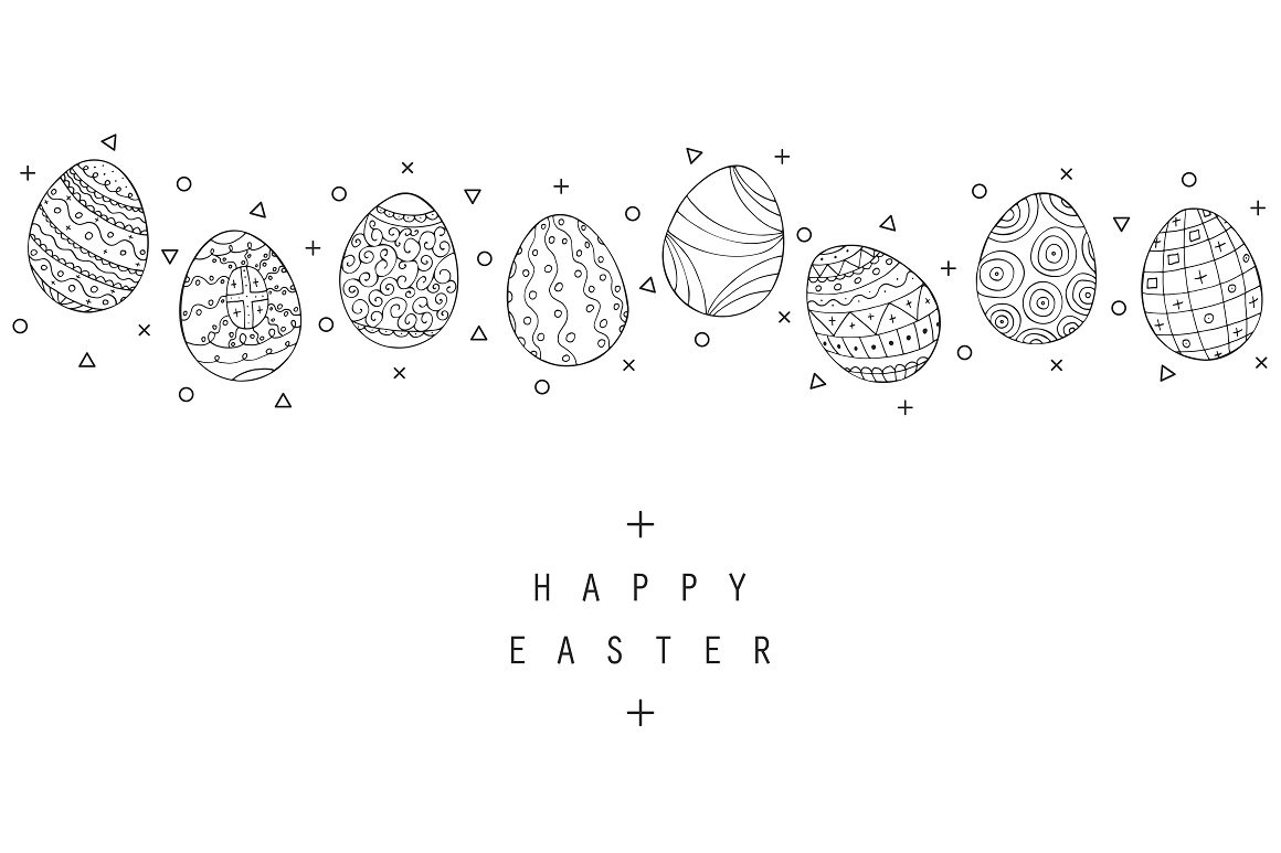Hand drawn Easter eggs colletion. example image 5