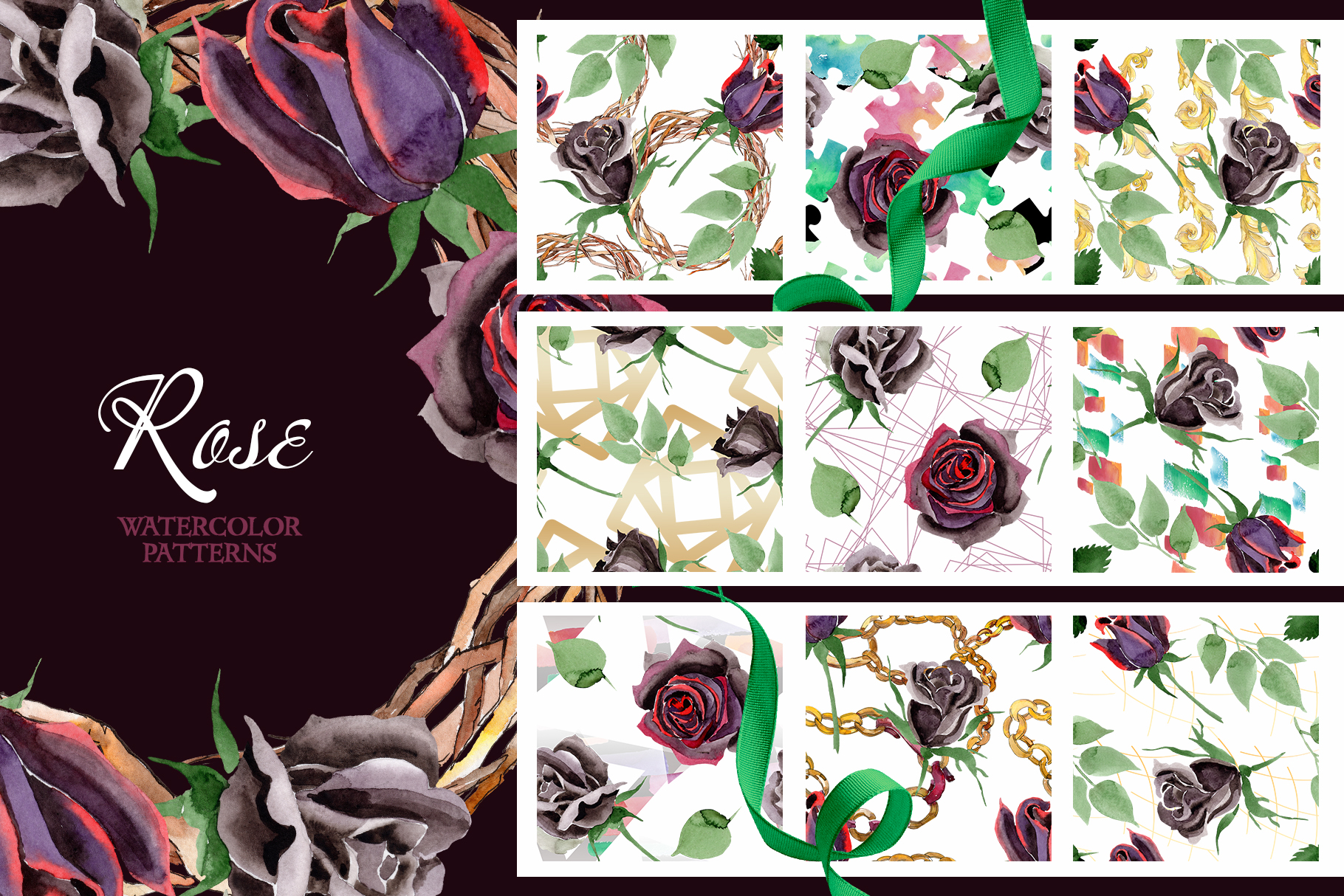 Exclusive black rose watercolor png example image 3