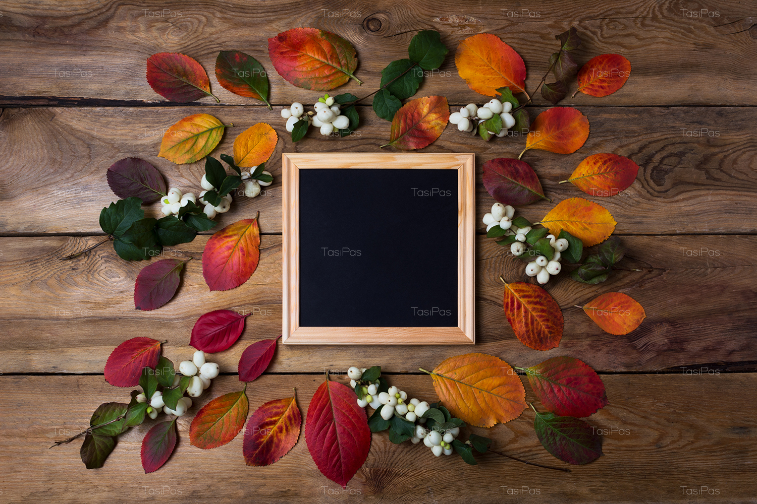 Wooden square picture frame mockup with fall leaves example image 4