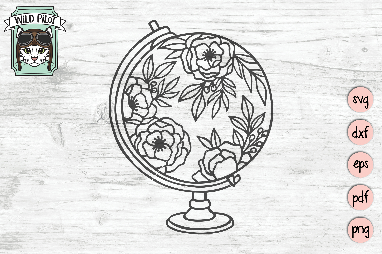 Floral Globe svg file, Flower Globe cut file, Travel svg example image 2