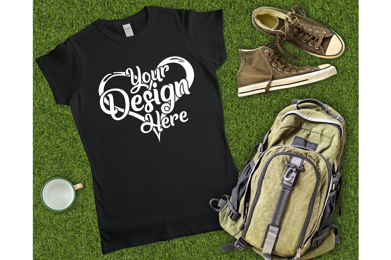 Gildan Ladies T-Shirt Mockup Mega Bundle Flat Lay 64000L example image 26