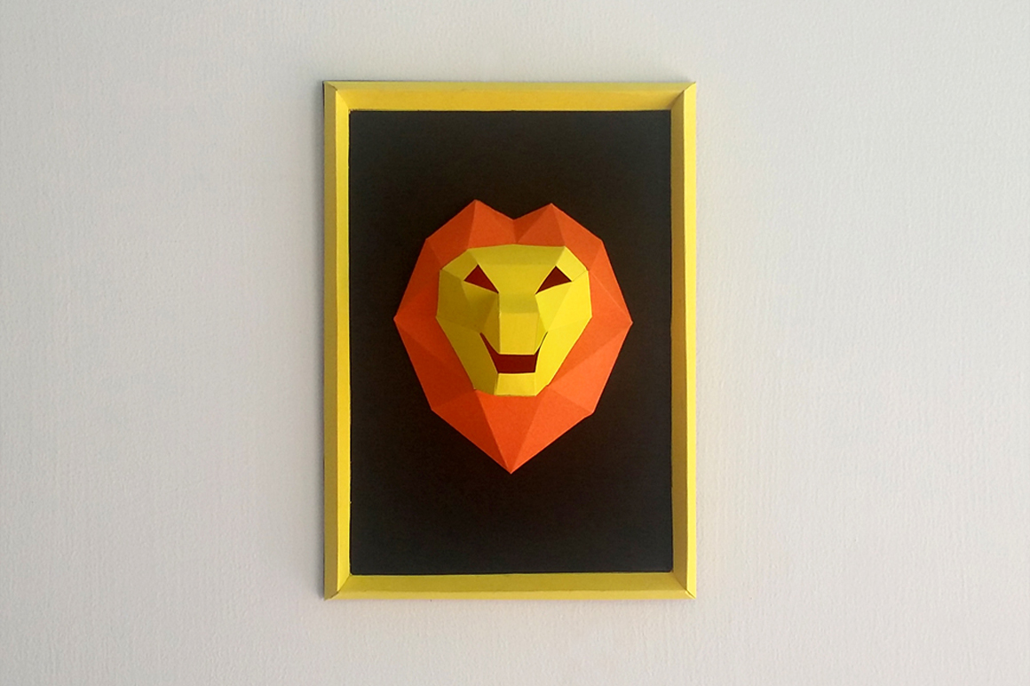DIY Lion Frame - 3d papercraft example image 1