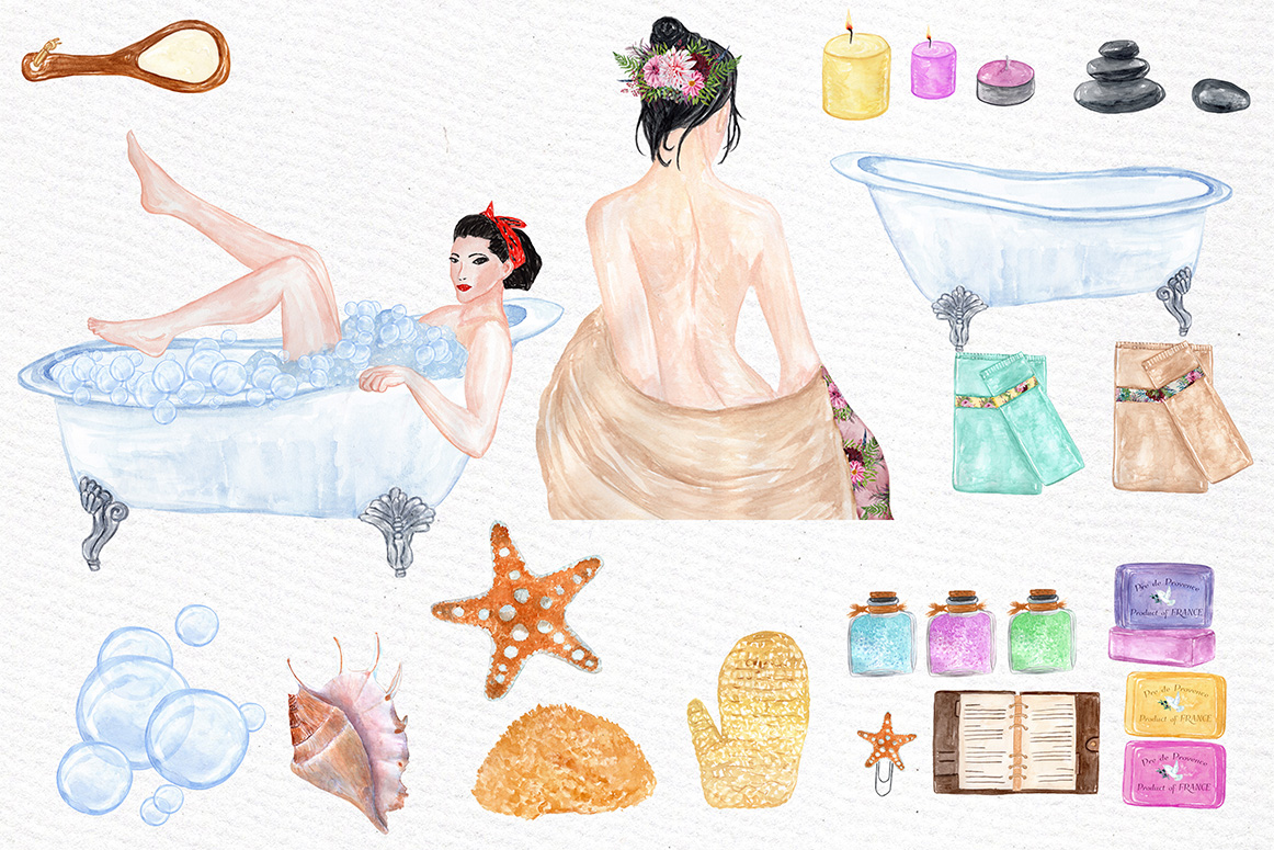 Watercolor SPA clipart example image 2