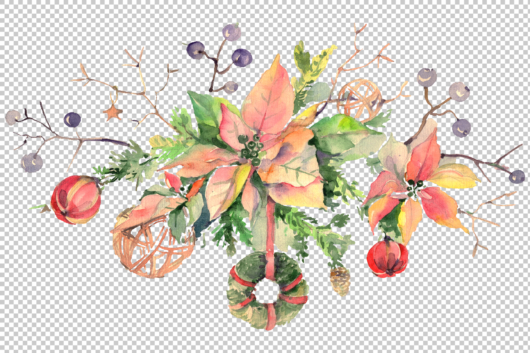 Christmas bouquet freezing day Watercolor png example image 2