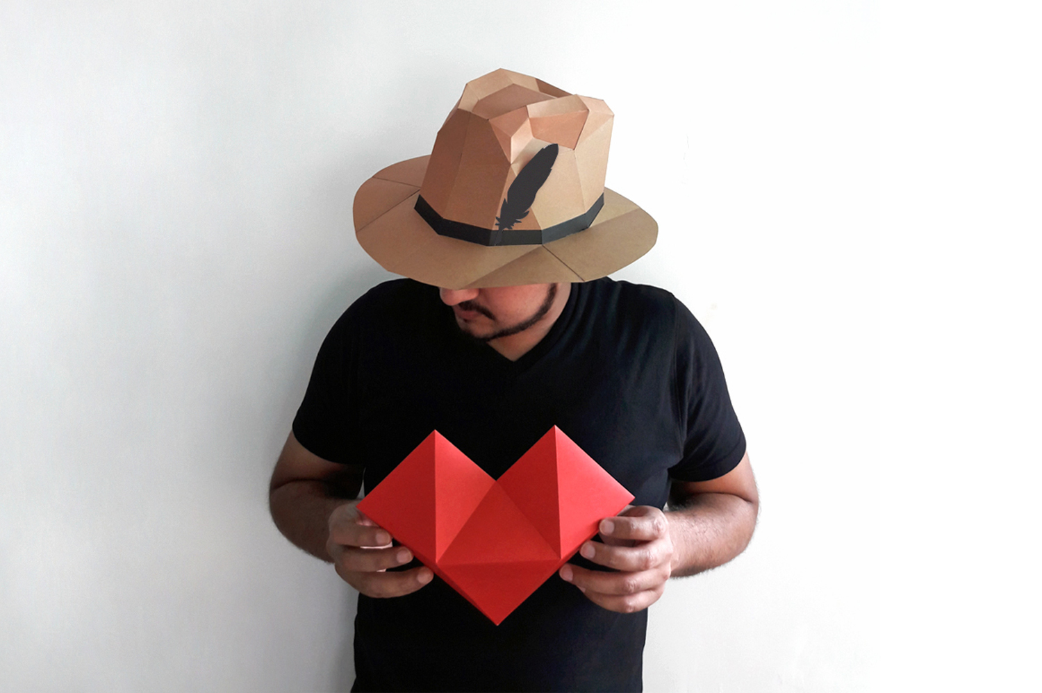 DIY Paper hat & heart - 3d papercraft example image 4