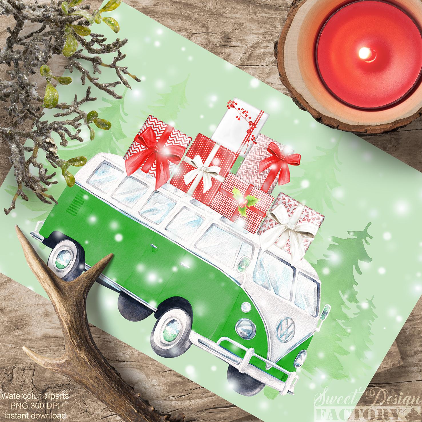 Christmas retro van cliparts. example image 4