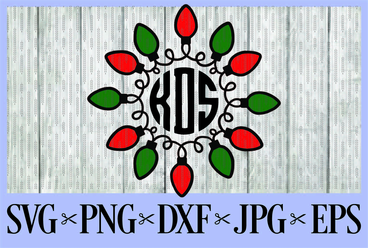 11+ Christmas Lights Monogram Frame – Svg/Eps/Dxf/Png Design