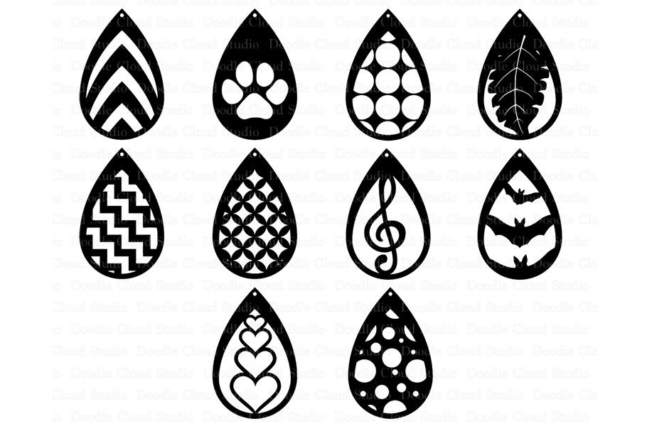 7c9280570 Teardrop Earrings SVG, Pendant svg, Earring template cut files example  image 2