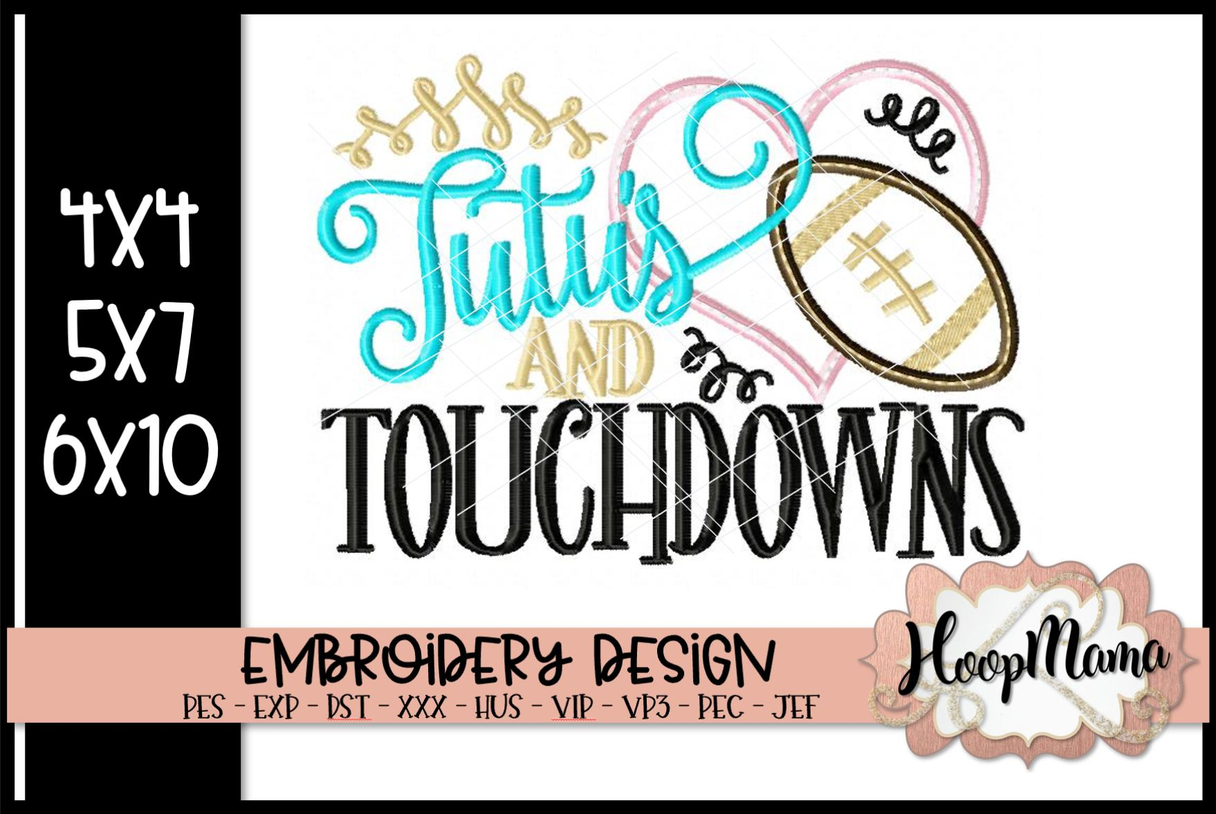 Tutu S And Touchdowns Football Embroidery