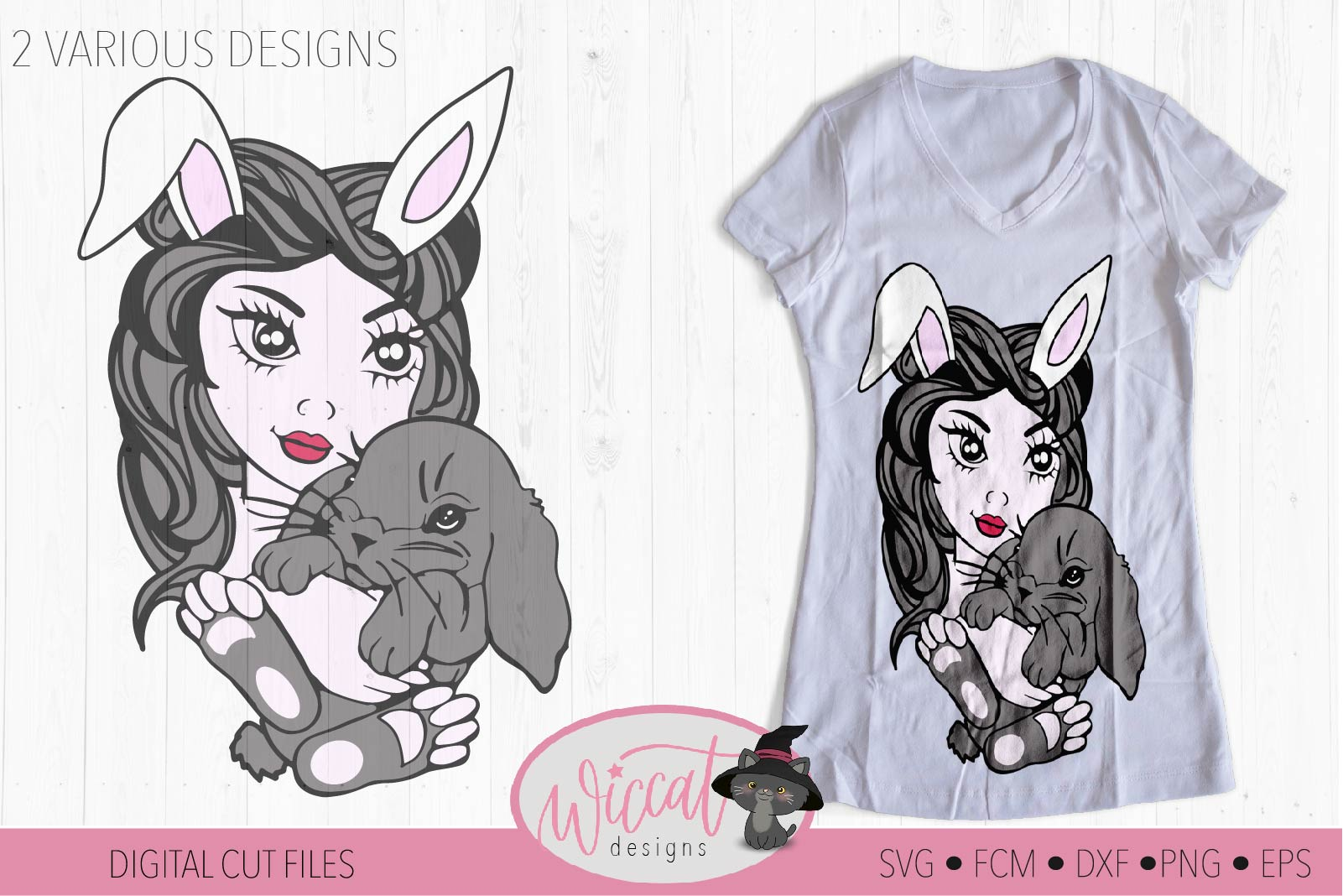 Girl with bunny ears svg, face svg, Line art svg, bunny svg, example image 2