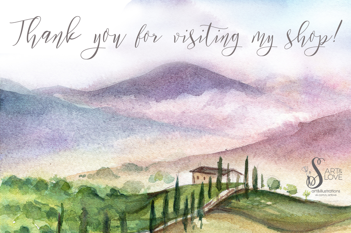 Watercolor collection PICNIC IN TUSCANY example image 7
