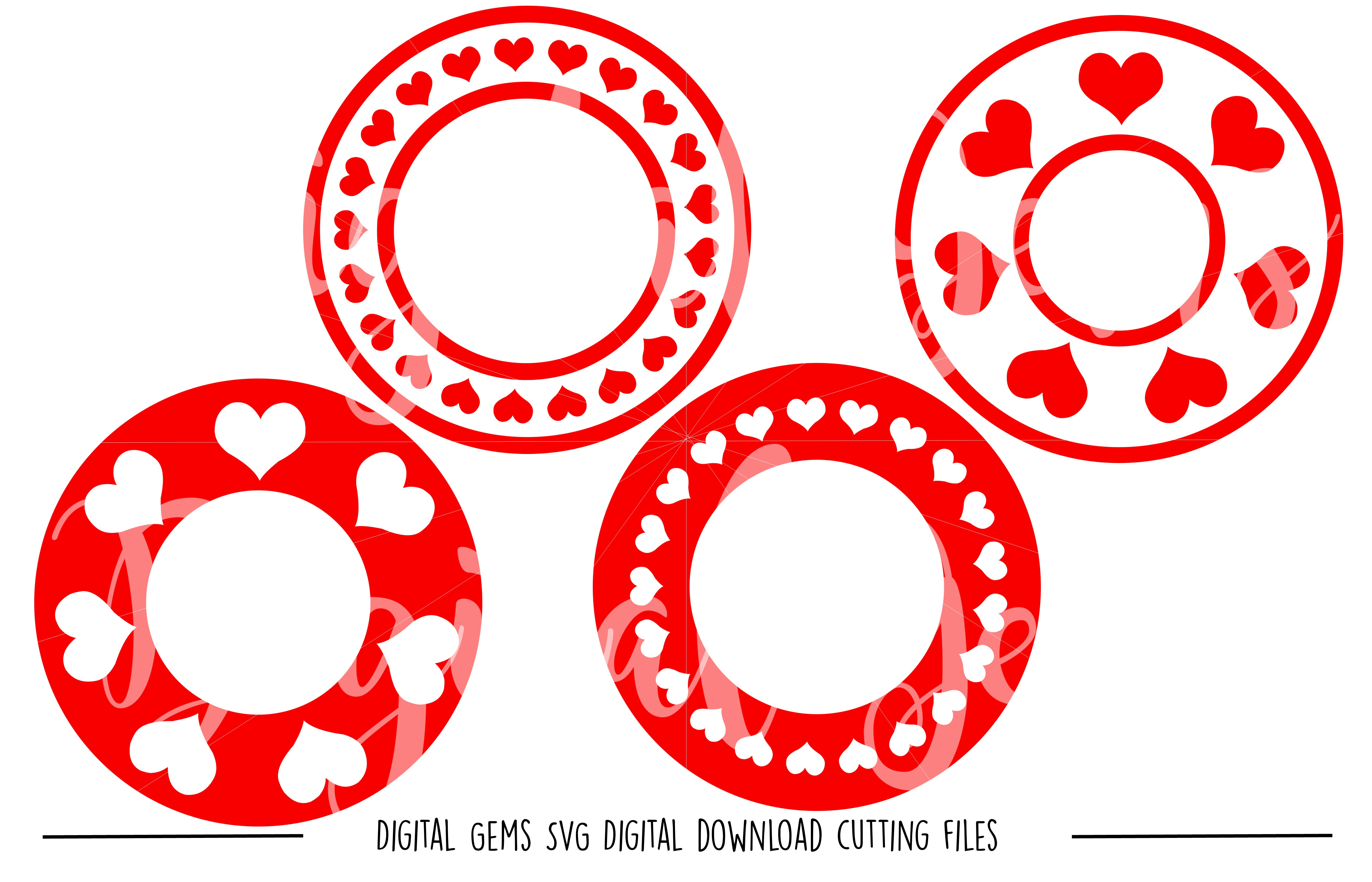 Heart Circle Frames SVG / DXF / EPS / PNG files example image 1