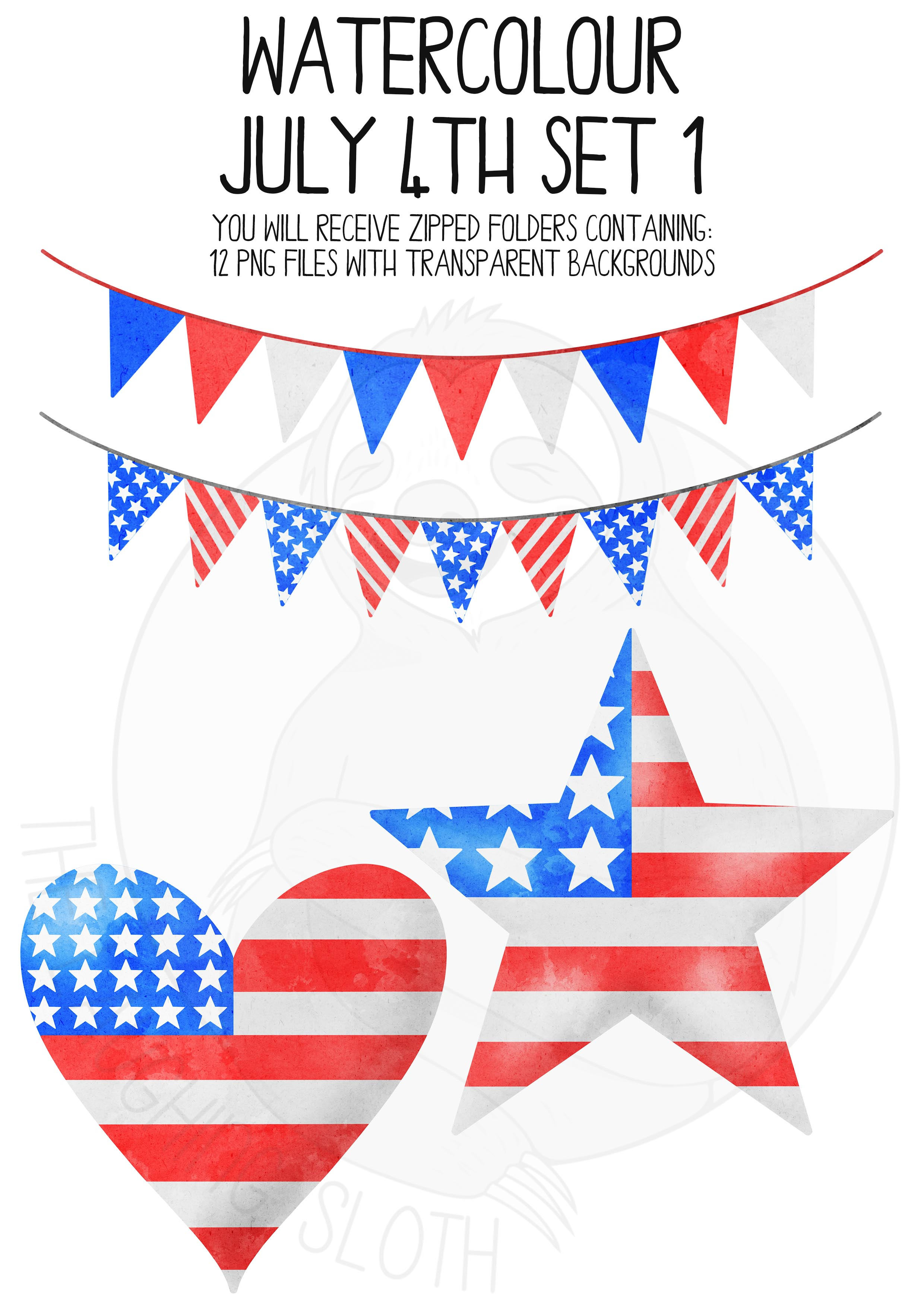 Watercolor July 4th Clip Art Set example image 2