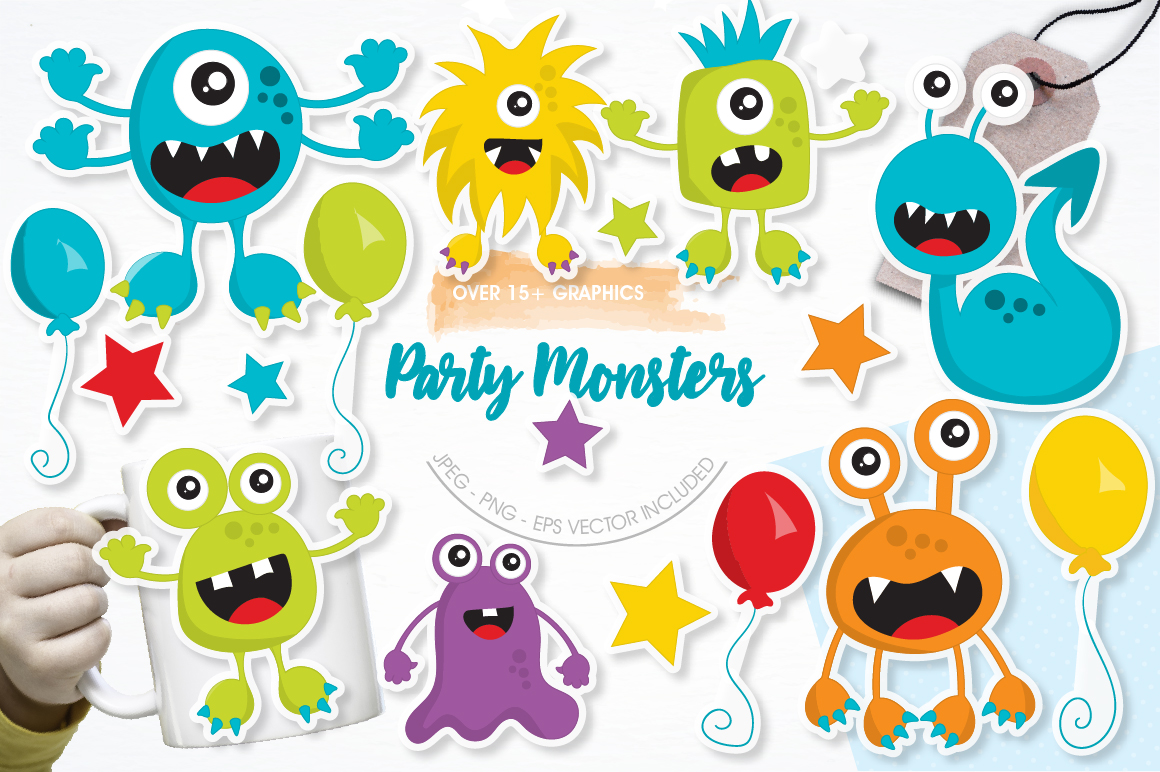 Party Monsters graphics and illustrations example image 1
