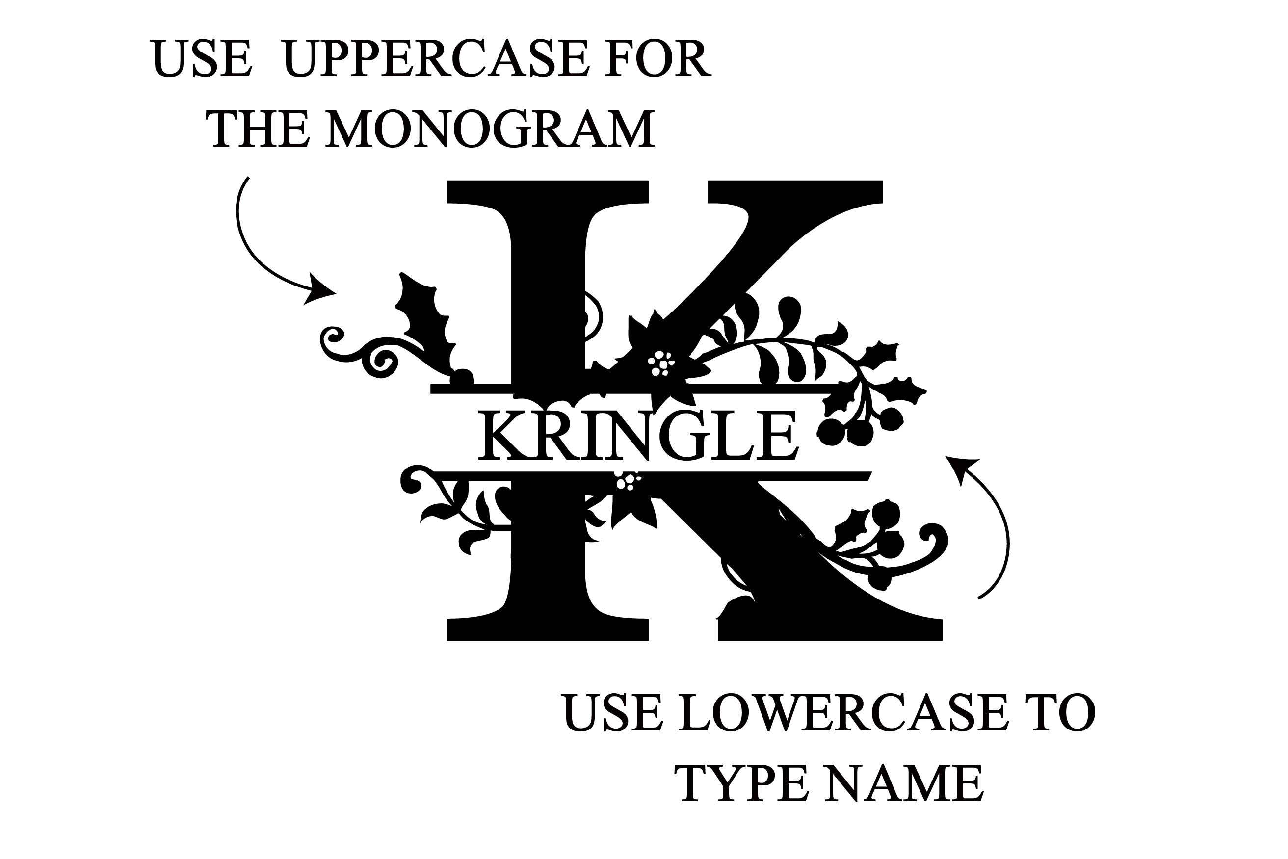 PN Christmas Floral Monogram Banner example image 5