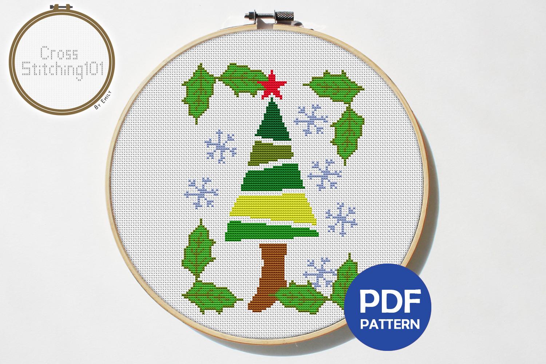 X-Mas Tree Cross Stitch Pattern - Instant Download PDF example image 1