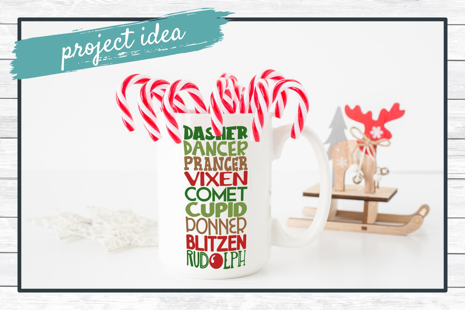 Reindeer Names, Christmas SVG Cut File for Crafters example image 2