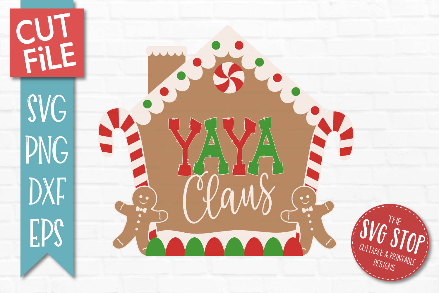 Yaya Claus Gingerbread Christmas SVG, PNG, DXF, EPS example image 1