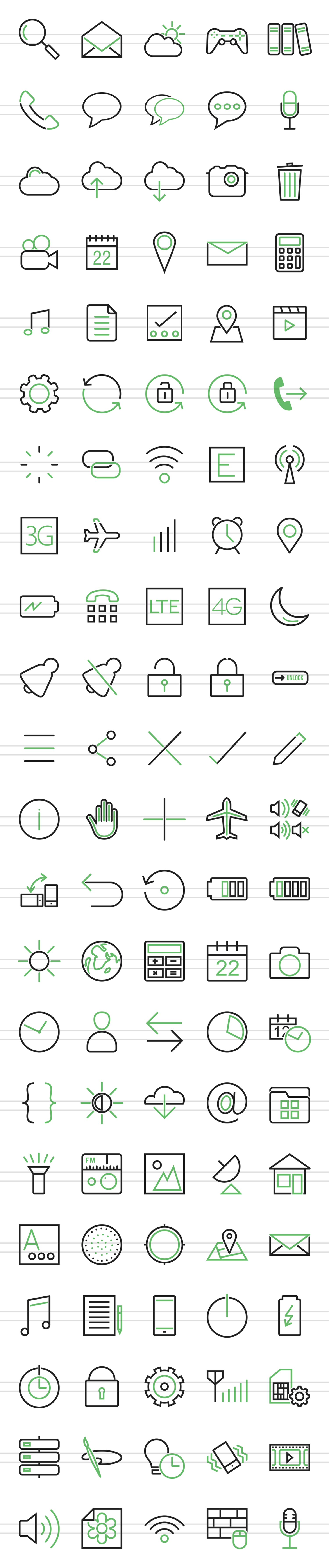 110 Mobile Apps Line Green & Black Icons example image 2