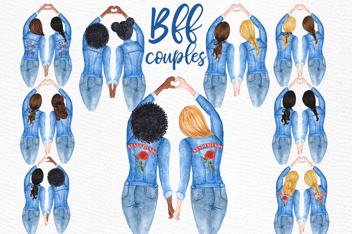 Best Friends Soul Sisters Watercolor Clipart example image 4