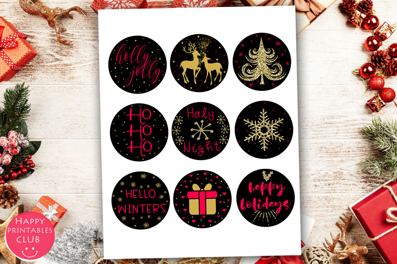 Cute Christmas Round Stickers- Holiday Round Stickers example image 4