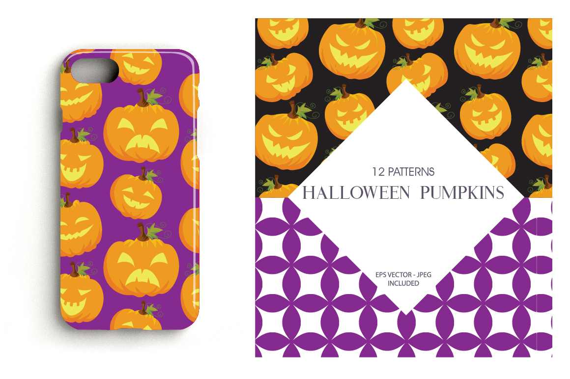 Halloween Pumpkins Pattern collection, vector ai, eps and example image 4