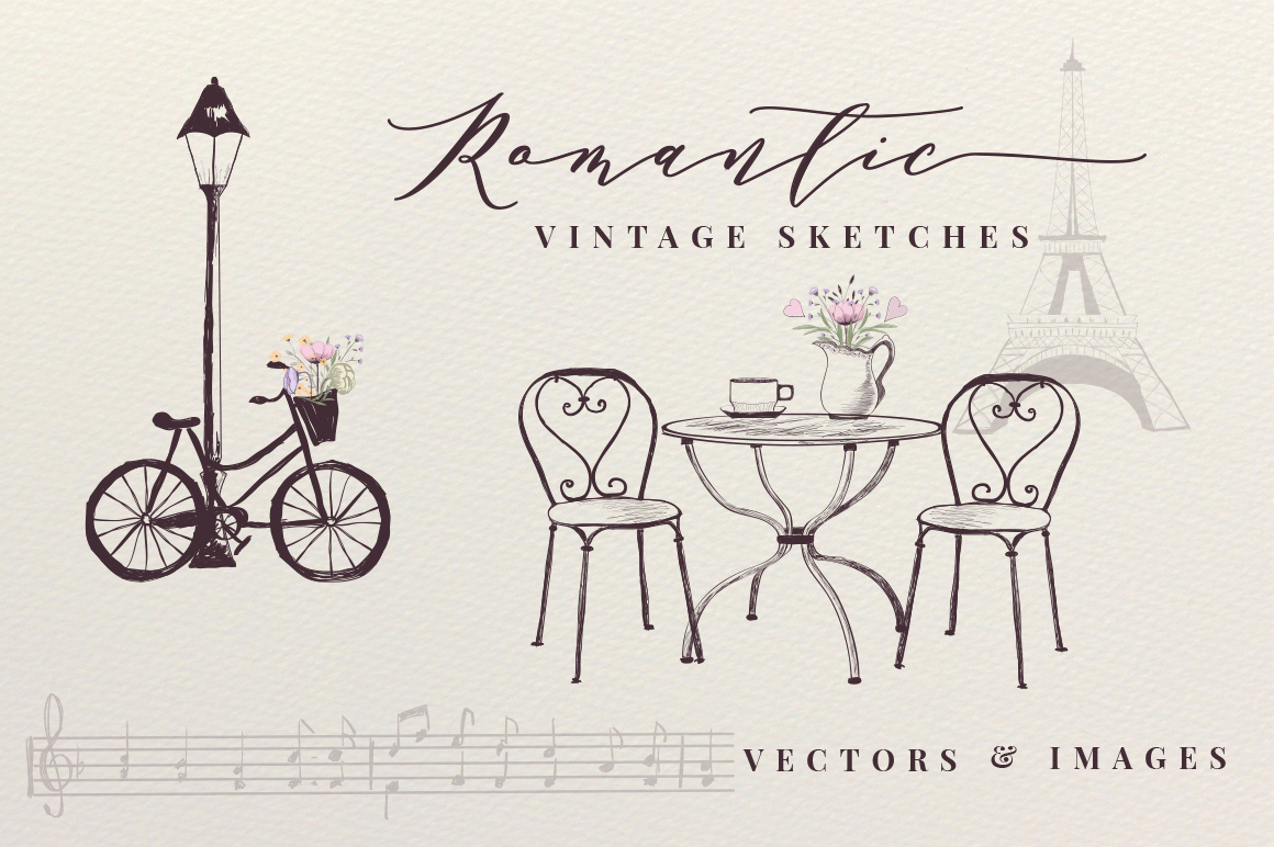 Romantic Vintage Sketches example image 1