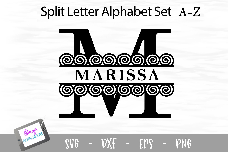 Split Letters A-Z - 26 Split Monogram SVG files with spirals example image 1