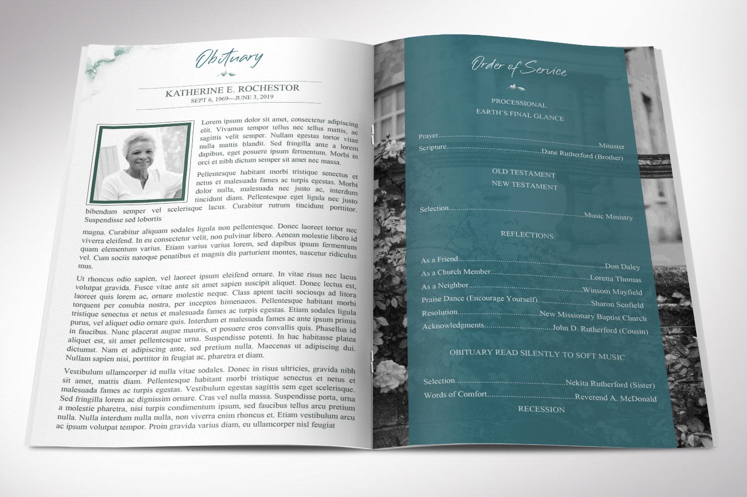 Blossom Funeral Program Word Publisher Template | 8 Pg example image 2