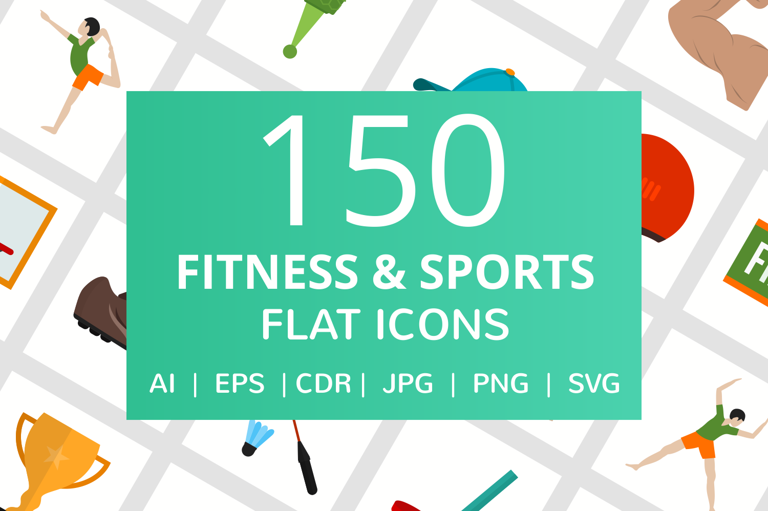 150 Fitness & Sports Flat Icons example image 1