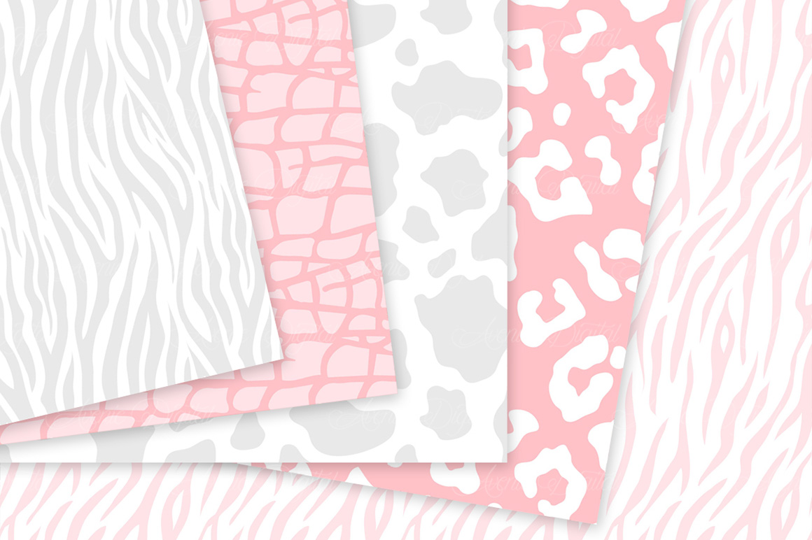 Pink and Gray Animal Print Vector Patterns - Pink Safari Seamless Digital Papers example image 3