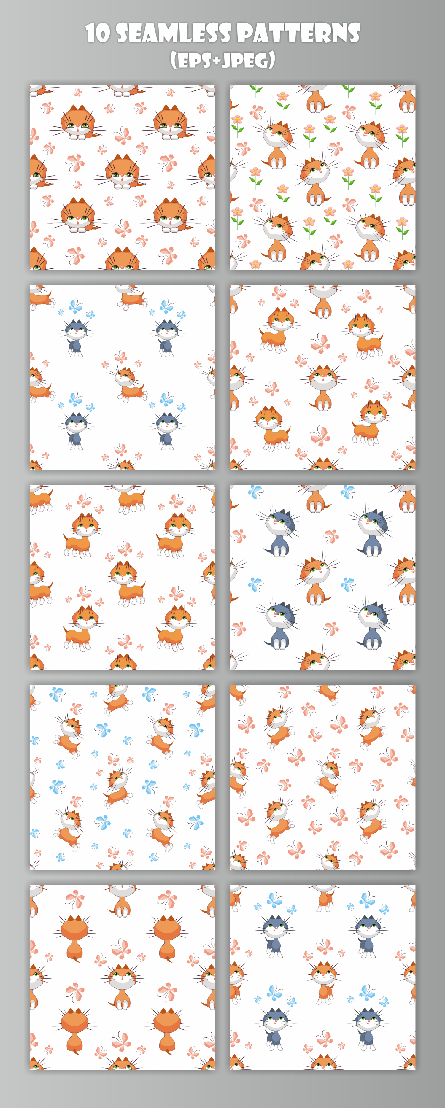 Little kittens. Seamless patterns example image 2