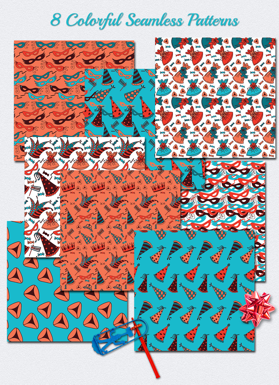 Happy Purim - 8 Colorful Patterns example image 2
