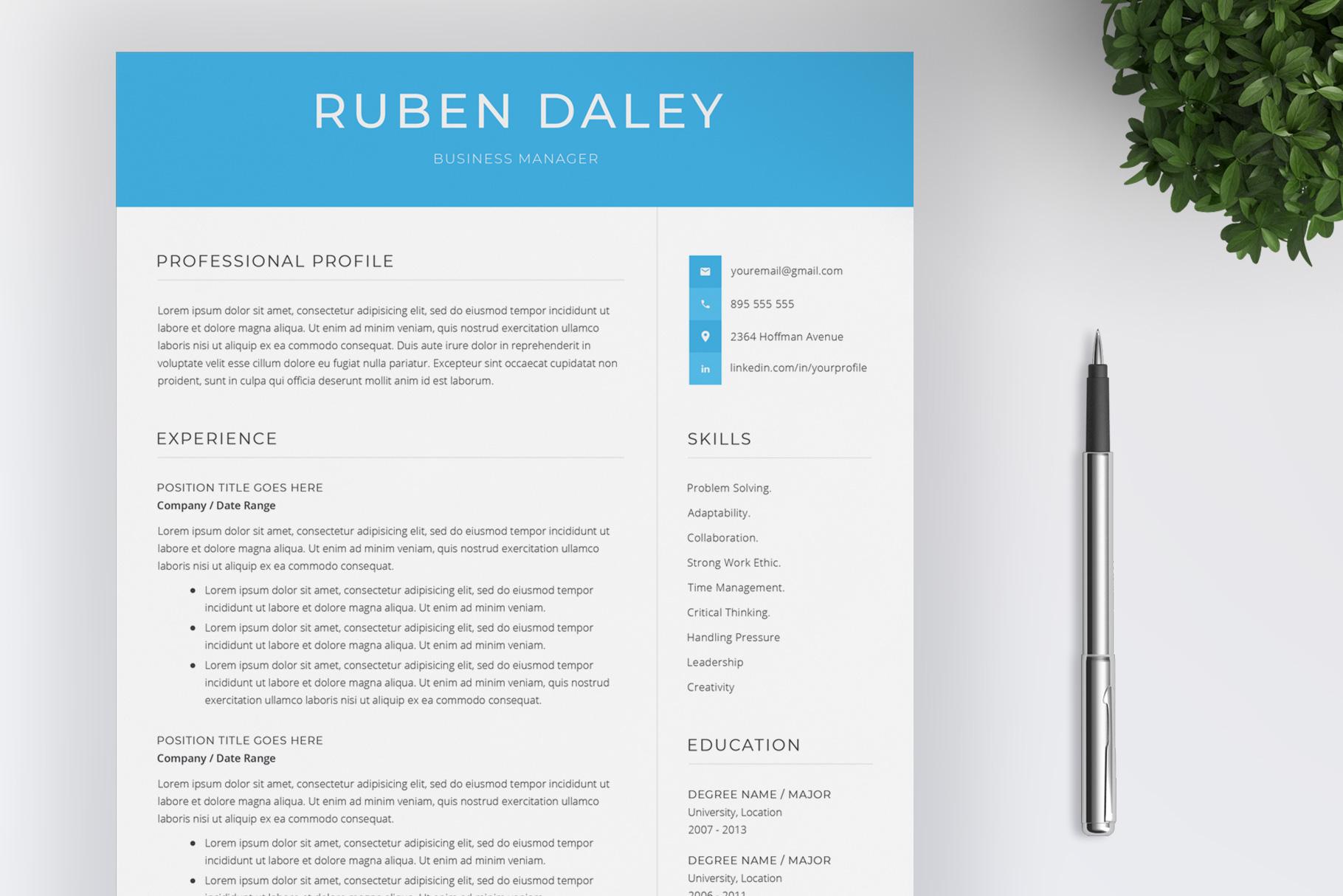 Modern Resume Template / CV Template example image 1