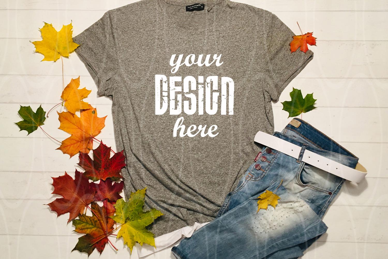 Gray shirt mockup Apparel Mockup Leaves jeans mock-up example image 1