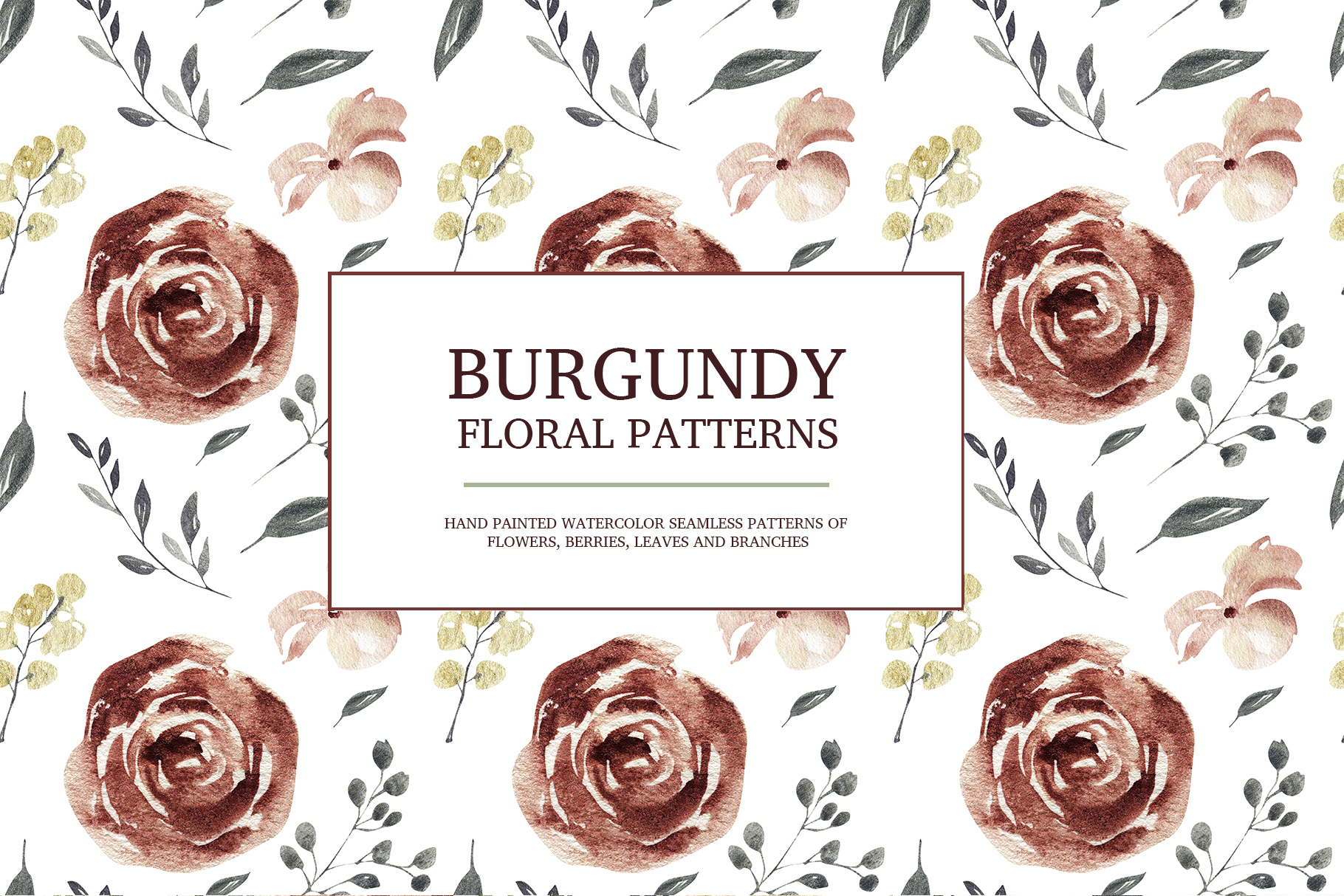 Burgundy floral seamless patterns, Seamless peony pattern example image 4