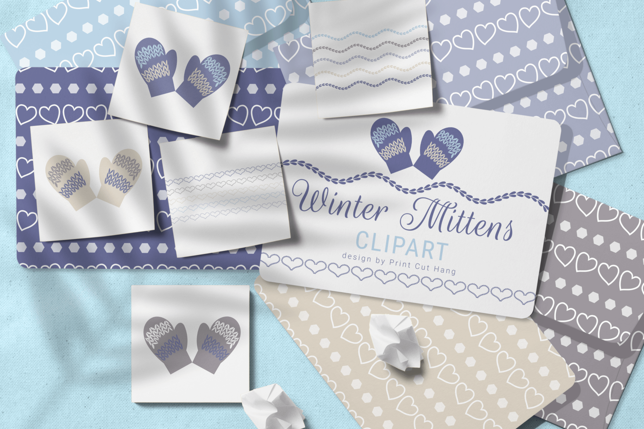 Winter Knitted Accessories Clipart & Scrapbooking Papers Set example image 2