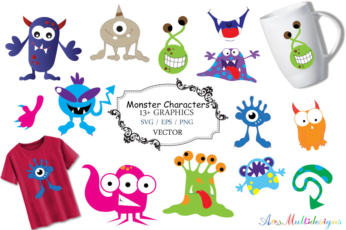 Monster characters svg / cute monster SVG / monster svg vector/ hand drawn monster SVG / Eps / Png / monster clip art / monster silhouette example image 1