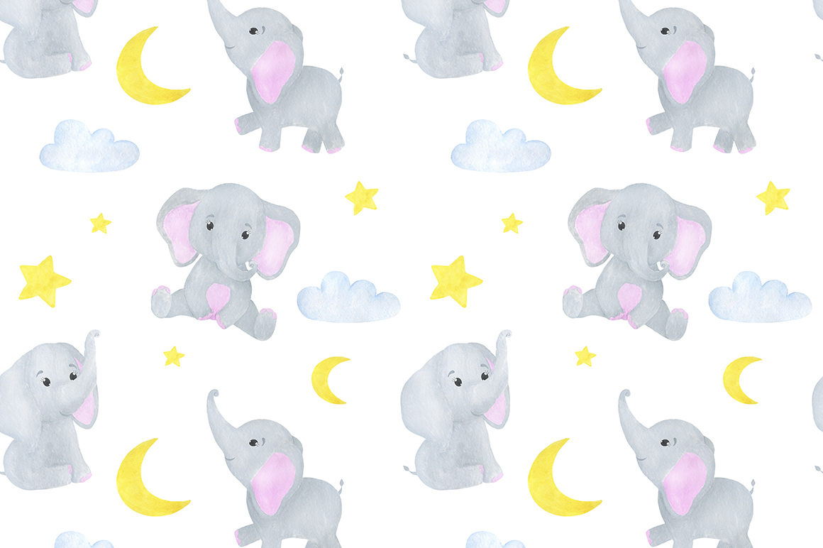 Set of illustrations of a cute little watercolor elephant example image 7