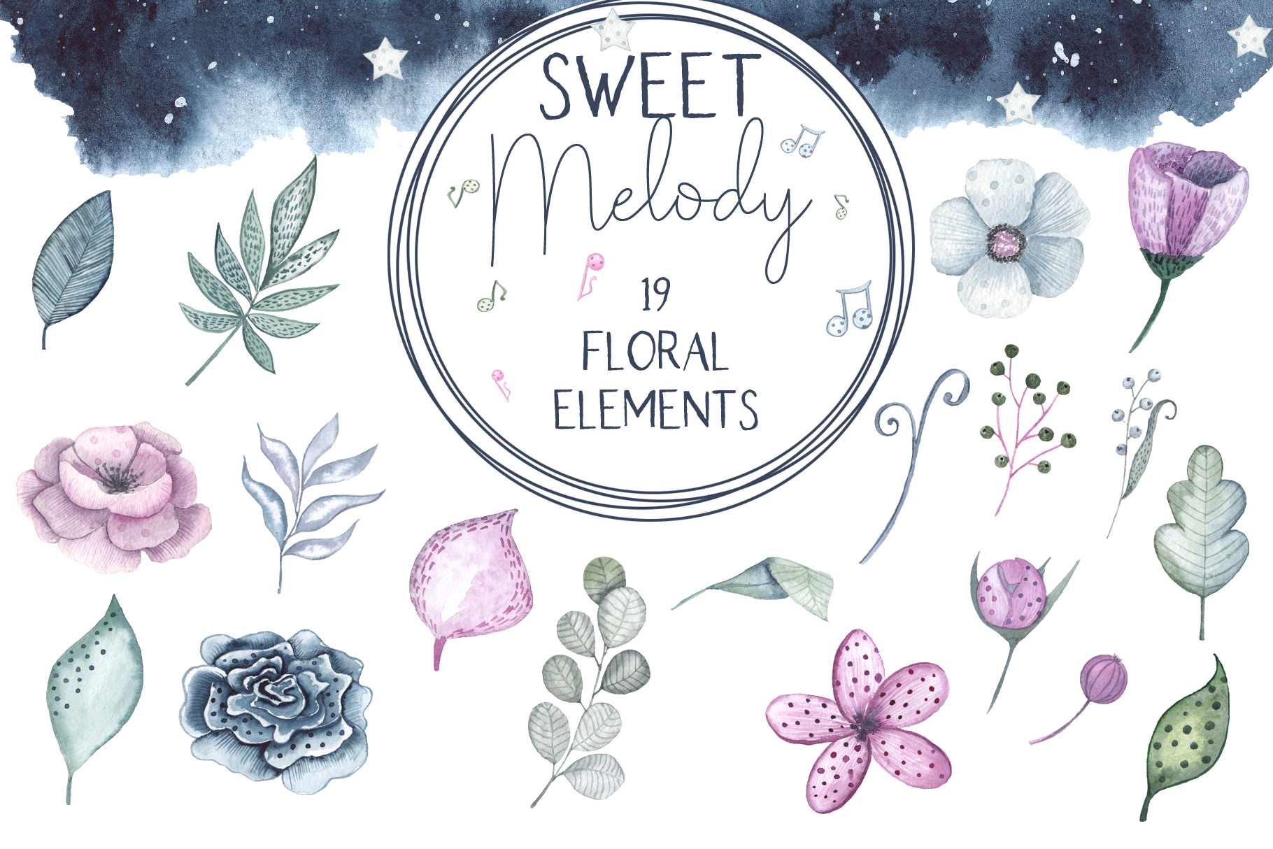 Sweet melody. Watercolor collection example image 13