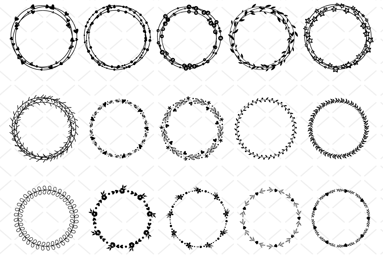 15 Round frames, circle laurel SVG, collection vector frames example image 2